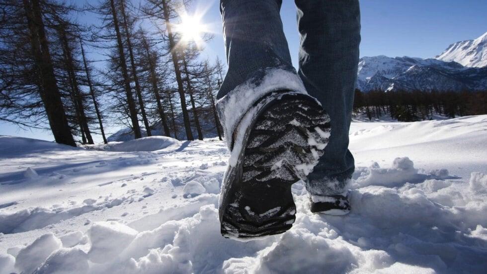 legs walking in the snow